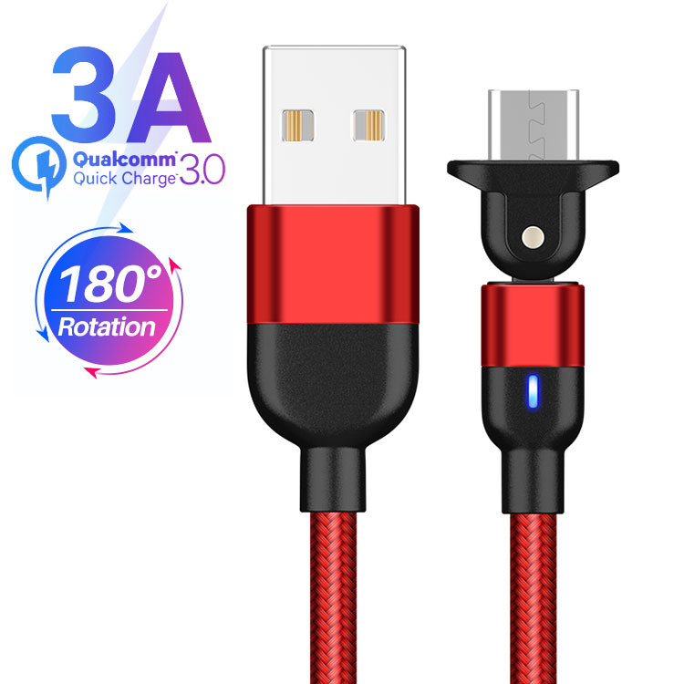180 Rotation USB Magnetic Data Cable 3A Universal Magnetic Charging Cable